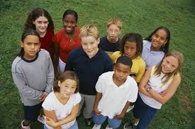 Group shot of kids, mixed ethnicities