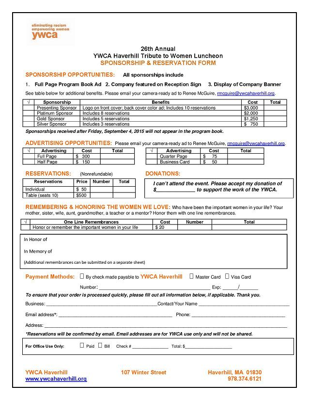 Haverhill Tribute Sponsorship Form  Ywca Northeastern Massachusetts